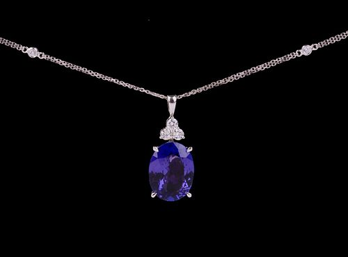 Tanzanite & Diamond 14K Gold Pendant Necklace