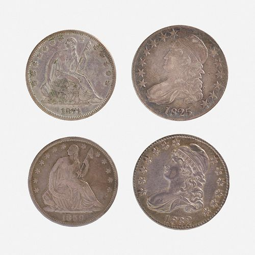 Twenty U.S. Capped Bust and Seated Liberty 50C Coins