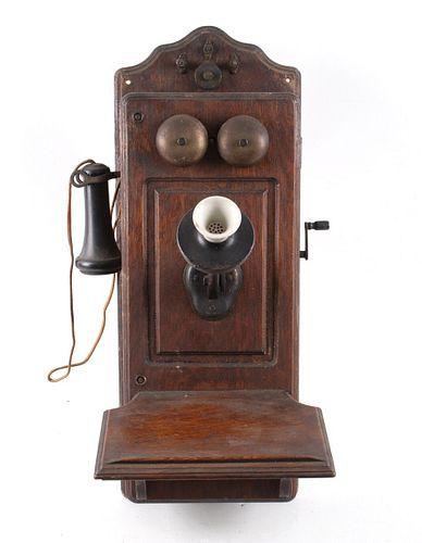 Early 1900s Kellogg Oak Wall Switchboard Telephone