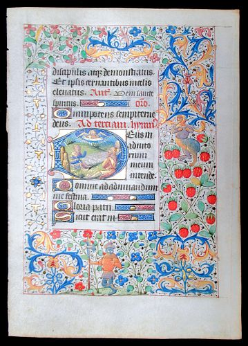 Book of Hours Leaf, circa 1450-75 - Annunciation to the Shepherds