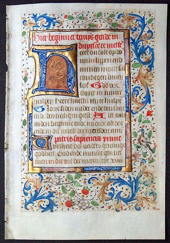 Book of Hours Leaf, circa 1475 - Written in Dutch - Elaborate borders