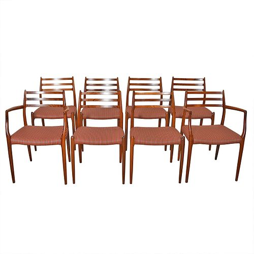 Set of 8 Niels Møller Rosewood Dining Chairs 2 Arm (Model #62) + 6 Side (Model #78)