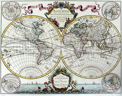 World Map, circa 1745 - Delisle - Covens & Mortier