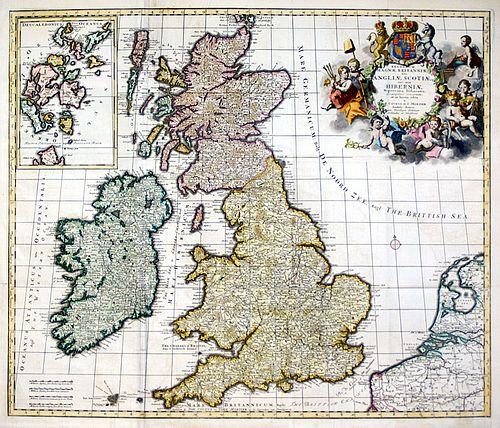 """""""...Magnae Britanniae..."""" Map of Great Britain - Covens Mortier, circa 1720"""