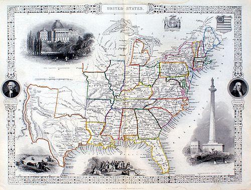 Tallis Map of the United States, circa 1850