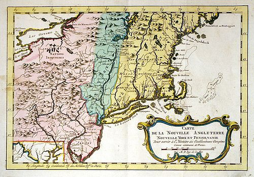 Bellin Map of New England Colonies, NY & PA, circa 1757 - French Indian War