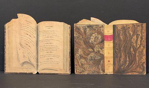 Pair c. 1850 Spectacular Trompe l'Oeil (Two-Dimensional) Watercolors of Open Faux-Books, c. 1850