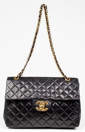 Chanel Black Leather Maxi Classic Flap Handbag