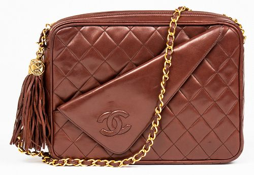Chanel Brown Quilted Leather Camera Handbag