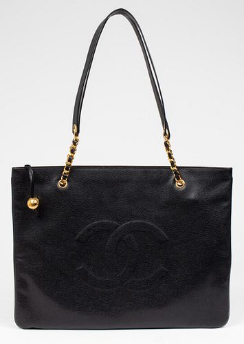 Chanel Black Leather Jumbo Shopping Tote Bag