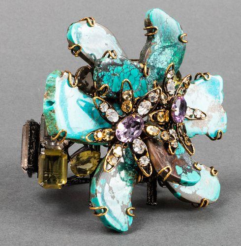 Iradj Moini Turquoise Amethyst & Quartz Pin/Bangle