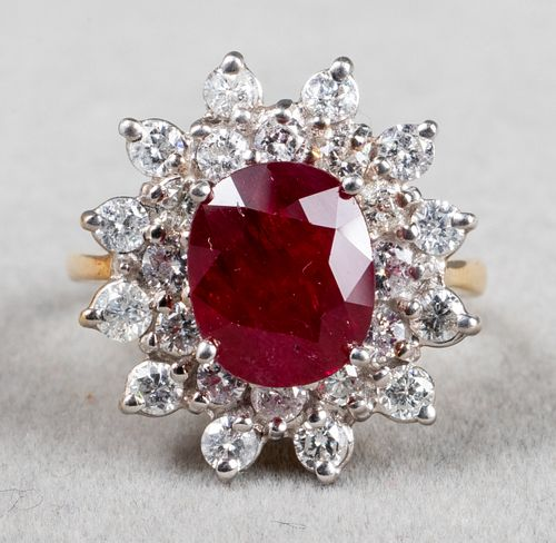 18K Yellow & White Gold Ruby & Diamond Ring
