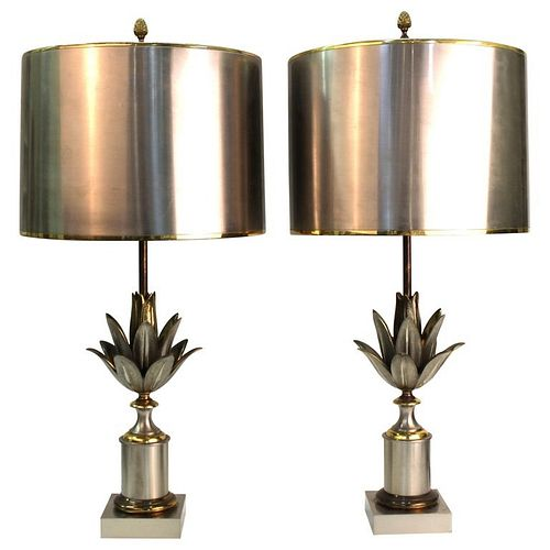 Maison Charles French Modern Artichaut Lamps, Pair