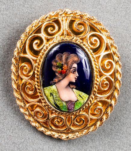 14K Yellow Gold Enamel Portrait Brooch/Pendant