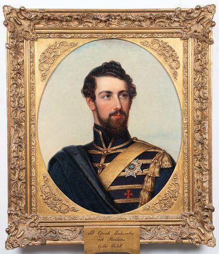 "Friedrick Durck ""Portrait of King Carl XV"" Oil"