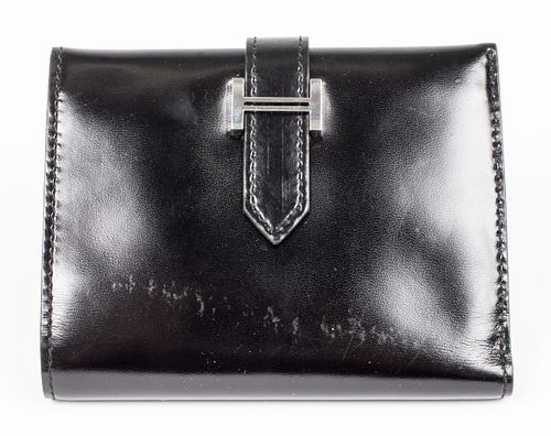 Hermes Black Leather Bearn Compact Wallet