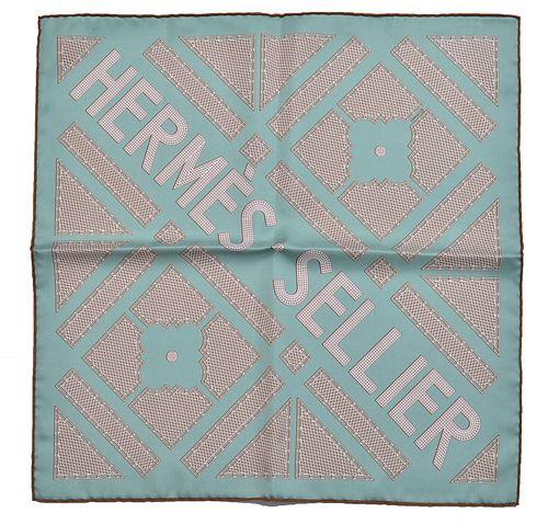 """Hermes Sellier"" Silk Scarf / Pocket Square"