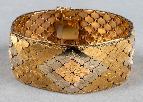 Vintage 18K Tri-Gold Ornate Wide Bracelet