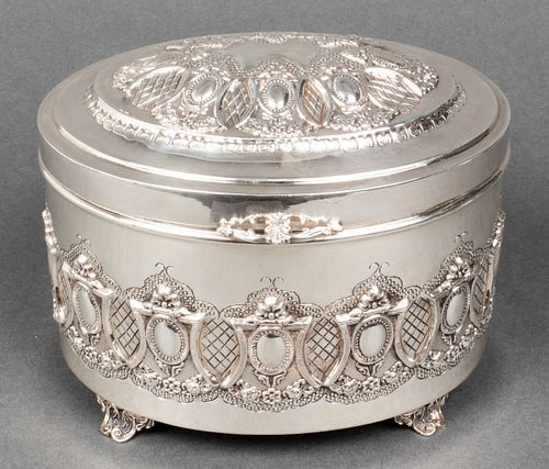 Judaica Sterling Silver Repousse Etrog Box
