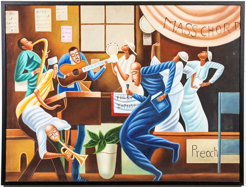 Follower of Ernie Barnes Large Oil on Canvas