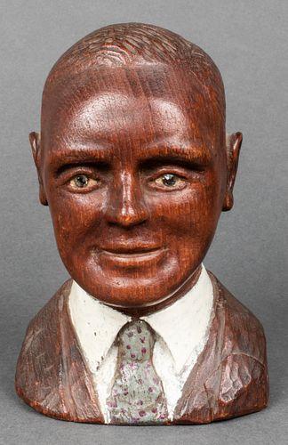 Folk Art Carved & Painted Wood Bust Sculpture