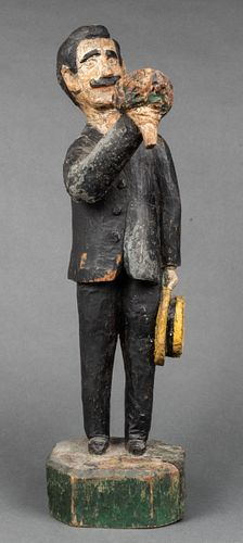 """Carved Wood """"Man with Bouquet & Hat"""" Sculpture"""