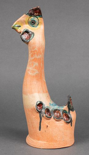 Illegibly Signed Art Pottery Bird Sculpture