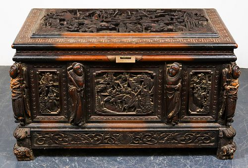 Chinese Heavily Carved Camphor Chest, Antique