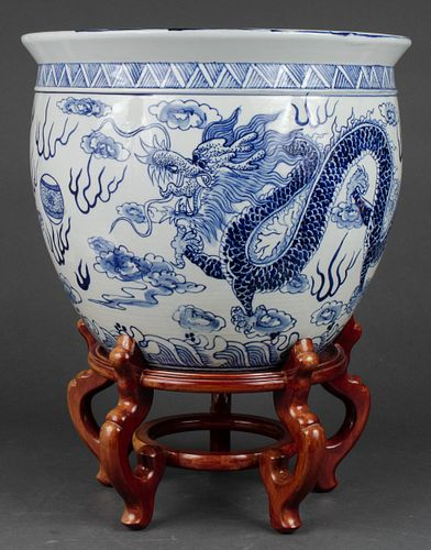 Chinese Blue & White Porcelain Dragon Fish Bowl