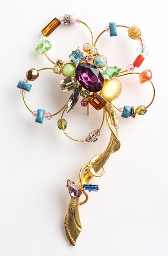 Christian Lacroix Large Mixed Media Flower Brooch
