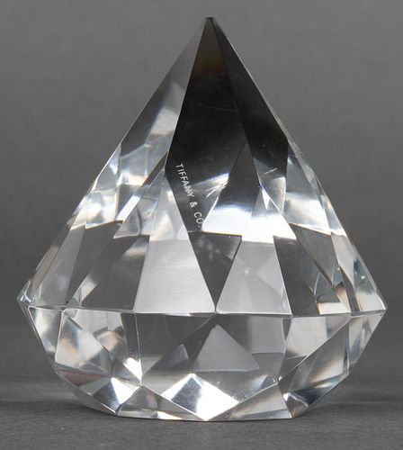 Tiffany & Co. Diamond-Shaped Crystal Paperweight