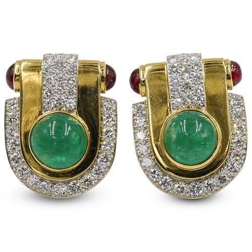 David Webb Platinum & 18K Gold Cabochon Ruby, Emerald and Diamond Clip Earrings