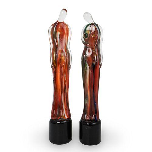 (2 Pc) Mario Badioli (Italian, 1940-) For Oggetti Figural Glass Statues