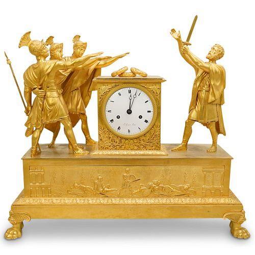 19th Cent. French Empire Gilt Bronze Clock