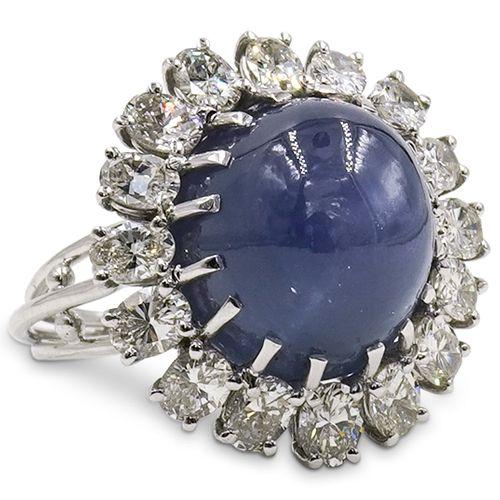 Star Sapphire, Diamond and Platinum Ring