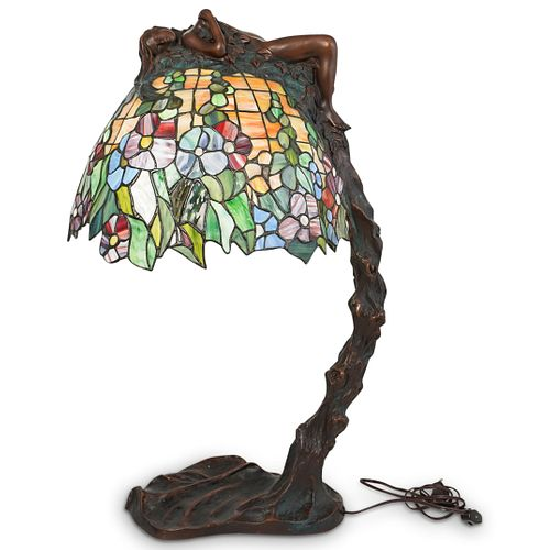 E. Thomasson Bronze Figural Stained Glass Lamp