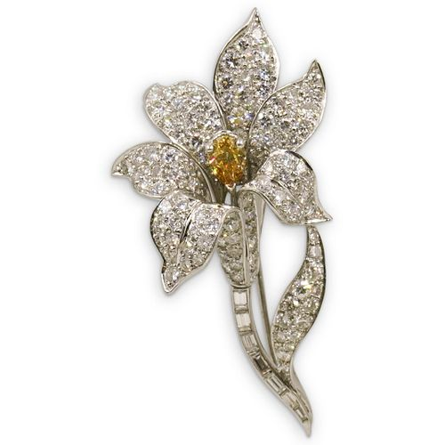18k Gold, Yellow Sapphire and Diamond Floral Brooch