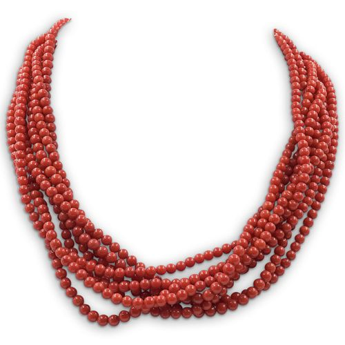 Beaded Coral and Sterling Necklace