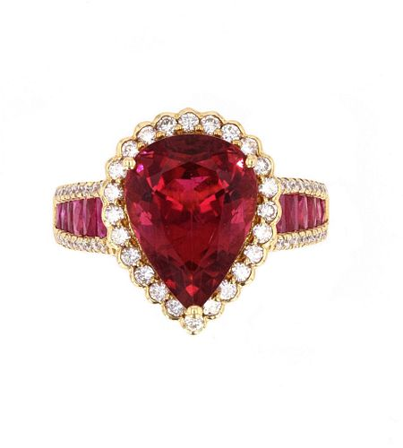 Rubellite Tourmaline & Diamond 18k Gold Ring