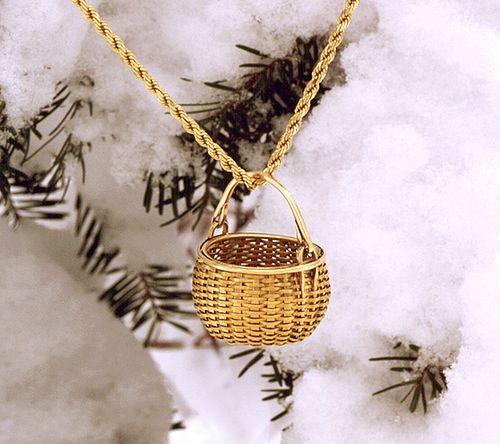 Miniature Swing Handle Basket Necklace