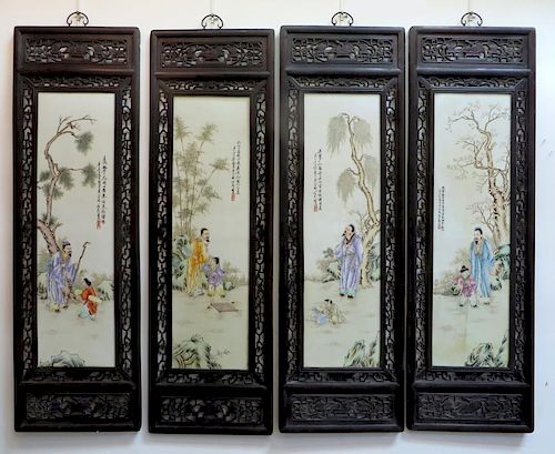 Four Large Qing Porcelain Panels With Zitan Frames