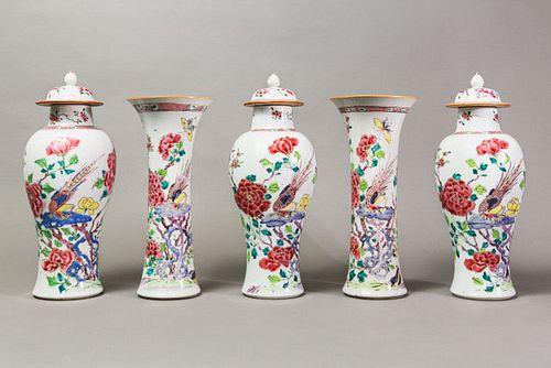 Famille Rose Garniture Set - Qianlong Period