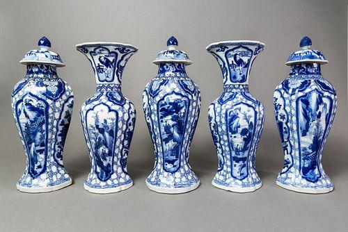 Blue and White Garniture Set - Kangxi Period