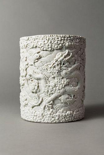 Moulded White-Glazed Dragaon Brushpot