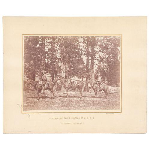 José and Joe Clark, Hunters of the U.S.G.S., Oversize Albumen Photograph by W.H. Jackson, Yellowstone, Wyoming, 1871