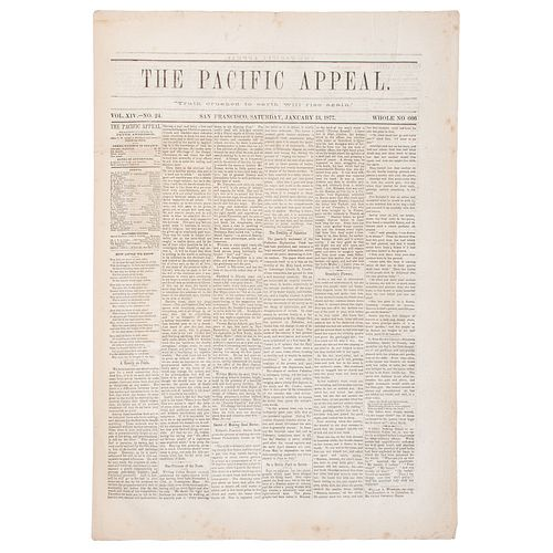 The Pacific Appeal Newspaper, San Francisco, 1877