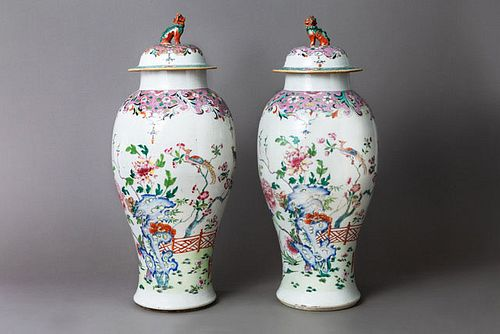 Large Pair Famille Rose Jars and Covers
