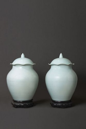 Large Pair of White-Glazed Jars with Lotus Shaped Covers