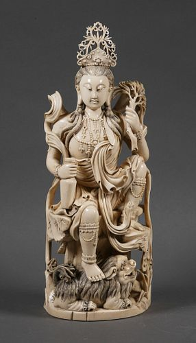 Antique Chinese Carved Ivory Guanyin 14""