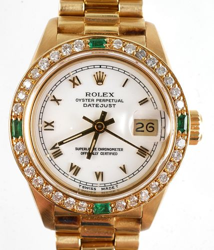 ROLEX Ladies Datejust 18k Diamonds Emeralds